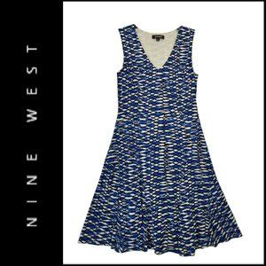 Nine West Women Sleeveless Flare Dress Stretch 8